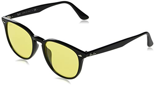 RAY-BAN RB4259F Round Asian Fit Sunglasses, Black/Yellow, 53 mm