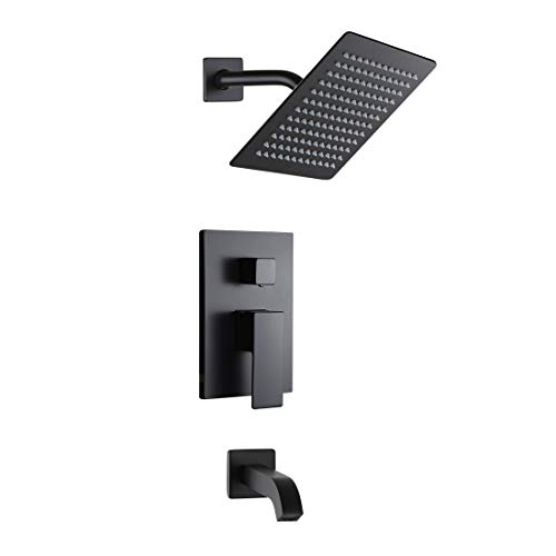 POP Black Shower Faucet Set with Tub Spout Bathroom Luxury Rain Mixer Shower System Wall Mounted Rainfall Shower Combo Set, Single Handle Tub and Shower Trim Kit with Rough-in Valve