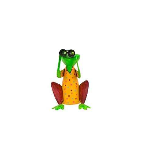 Bavaria Home Style Collection- Frosch Zaunfigur Gärtner Zaunlattenfigur Zaunhocker Pfostenhocker Dekofigur Deko für Garten Teich Große Auswahl (Fernglas)