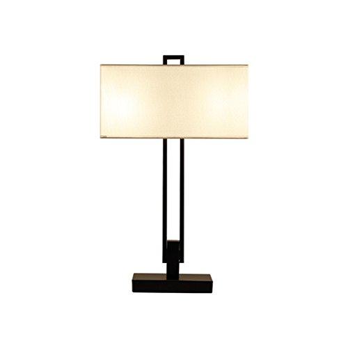 Retro, clásico, lámpara de mesa de hierro E27 * 2, pantalla de lámpara rectangular blanca, lámpara de escritorio de cabecera de la habitación antigua, lámpara de escritorio de la sala de estudio del h