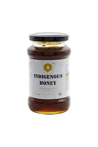 INDIGENOUS HONEY Raw Organic Honey Unprocessed Unfiltered Unpasteurized Pure Natural Original Honey an Ayurvedic Immunity Booster for Weight Loss Cough and Digestive Disorders 500 Grams Glass Jar