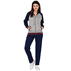 Vivid Bharti Navy and Grey Fleece Zipper Hooded Womens Tracksuit