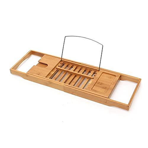 Zjcpow Bandeja para bañera de bambú para baño, estante de baño, bandeja de puente para bañera o vino, soporte para almacenamiento para una experiencia de spa en el hogar