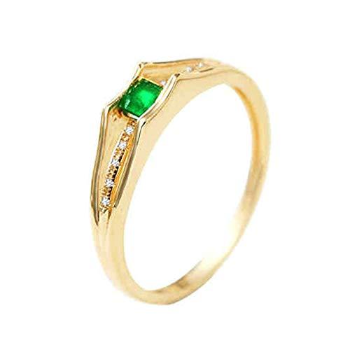 Socoz Mujer Unisex oro amarillo 18 quilates (750) cuadrada Green Emerald
