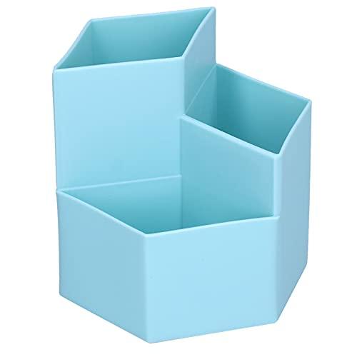 Alvinlite Caja de Almacenamiento de Escritorio de Gran Capacidad del Organizador del Tenedor del Cepillo de Maquillaje para el tocador casero(Azul Claro)