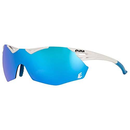 EASSUN Gafas de Running Avalon, Solares Cat 3, Ajustables y Antideslizantes - Blanco, Azul Revo