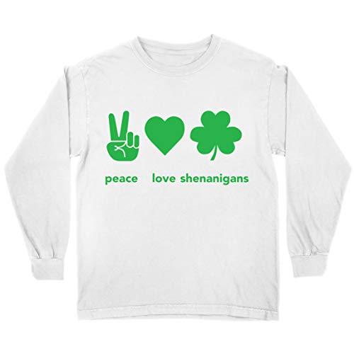 lepni.me Camiseta para Niños Paz y Amor Shenanigans Regalo para la Fiesta del Día de San Patricio en Irlanda (7-8 Years Blanco Multicolor)