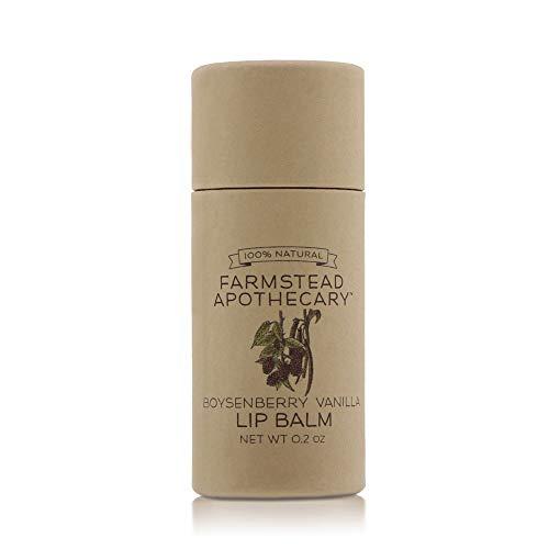 Farmstead Apothecary 100% Natural Lip Balm with Organic Beeswax, Organic Shea Butter & Organic Coconut Oil, Boysenberry Vanilla 0.2oz