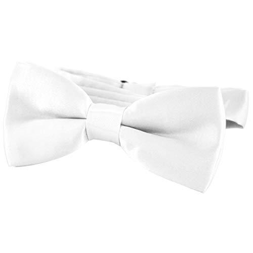 DonDon® Edle Kinder Fliege gebunden und längenverstellbar 9 x 4,5 cm weiß glänzend in Seiden Look