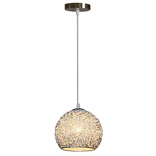 Lampara Colgante Aluminio del Techo Iluminacion Moderna Bombillo E27 220V 40W Luz Casquillo Focos para el Techo (Plata)