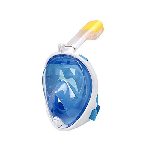 Yowablo Vollgesichts-Schnorchelmaske Tauchen Schwimmen Easy Breath Underwater Anti Fog Dry (S/M,Blau)