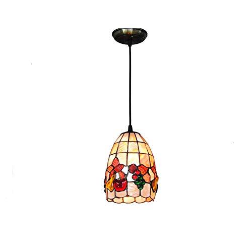 Preisvergleich Produktbild XXXAAADDD Tiffany Style Pendelleuchte,  5 Zoll Obst Muster Natürliche Shell Lampenschirm Schmiedeeisen Kronleuchter Für Restaurant Cafe Decke Hängende Lampe Leuchten