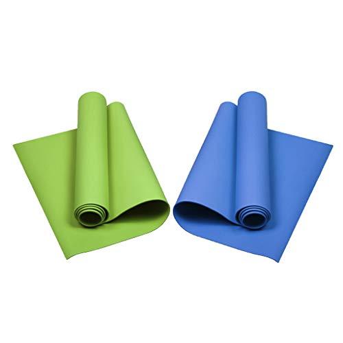 Milageto Cojín de Ejercicio de Gimnasio Portátil Impermeable de 2 Piezas para Yoga para Acampar Azul + Verde