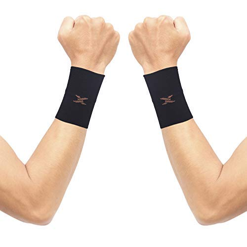 Thx4COPPER Compression Wrist Sleeve-Copper Infused Wrist Support for Men &Women-Improve Circulation and Recovery(1 Pair)
