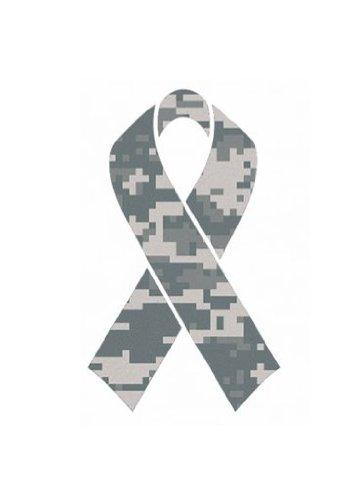 10 Pack - Camouflage Camo Military Ribbon 'Salute To Service' Helmet Decal Sticker Full Mini Perfect For: Football, Baseball, Hockey, Lacrosse, Bike