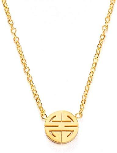 ZVBEP Collar Simple Bendición Collar con Colgante Redondo para Hombres Mujeres Estilo Chino Personalidad Hip Hop Suerte Collares Joyería de Acero Inoxidable