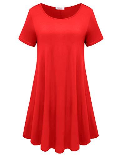 BELAROI Womens Comfy Swing Tunic Short Sleeve Solid T-Shirt Dress (X-Large, Poinsettia)