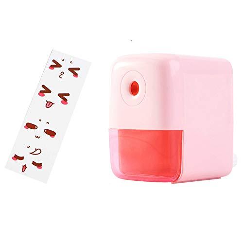 Sacapuntas Kawaii sacapuntas de lápices giratorio, sacapuntas para escuela, oficina, cuchillo de afilar suave con pegatinas DIY Statione Pinkstyle2