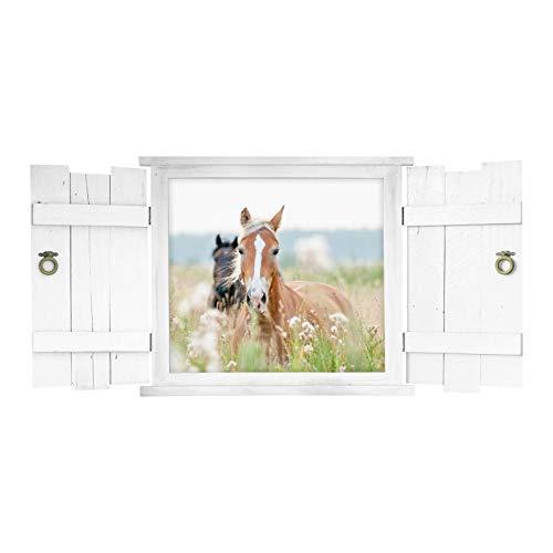 132 Muursticker Paarden in Raam met luiken - in 6 maten - Kwekerij Meisje Decoratie Wanddecoratie Eenvoudig aan te brengen en verwijderbaar