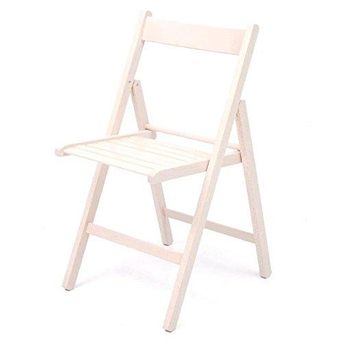 Sedie pieghevoli in legno da giardino 6 Pz colore bianco
