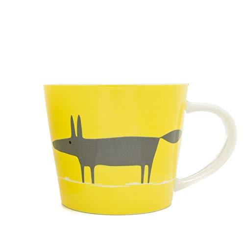 Taza de Desayuno, Color Gris y Amarillo,