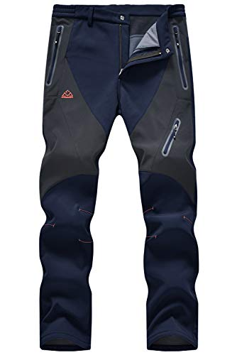 TBMPOY Men's Waterproof Ski Hiking Fleece Lined Softshell Pants Windproof Cargo Trousers for Camping Mountain Snowboarding Navy 34