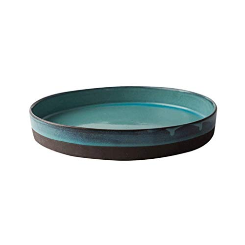 YGXR Vajilla, Bandeja de Almacenamiento - Plato Verde para el hogar Plato Redondo Plato de cerámica Plato de té Plato de Fruta Juego de té de cerámica
