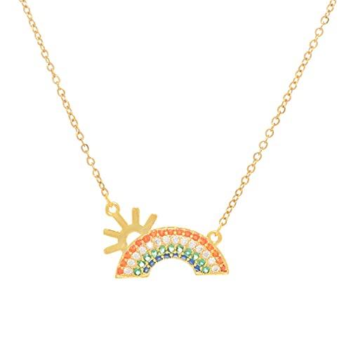 YQMJLF Collar Moda Accesorios Collares Mujer Viento y Dulce Temperamento Collar de Acero de Titanio Femenino pequeño Collar de Arco Iris Fresco Concha Nube Colgante Cadena de clavícula