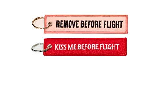 """Pacchetto portachiavi aviazione con testo """"REMOVE BEFORE FLIGHT"""" e """"KISS ME BEFORE FLIGHT"""""""
