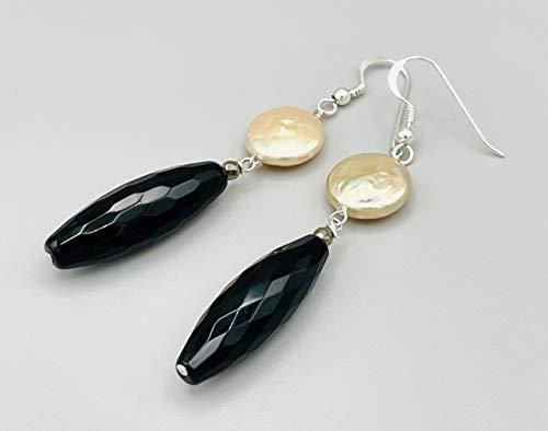 Pendientes de plata de ley 925 onix negro y perlas rosas, joyas artesanales, chakra de la raiz, regalo para mujer