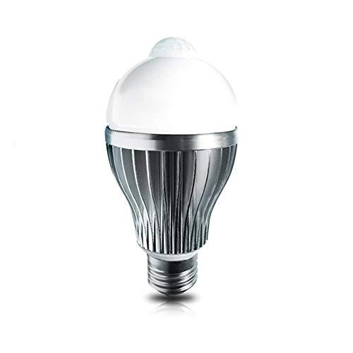 LEd4U LED8090IR-WC LED-lamp lamp met bewegingsmelder PIR sensor E27, 8W zilver