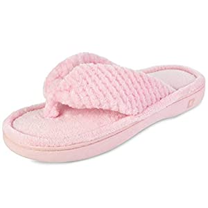 Dena Lives Women's Memory Foam Flip Flop Slippers with Cozy Short Plush Lining,Spa Thong Sandals Mules, Ladies' House Shoes with Indoor Outdoor Anti-Skid Hard Rubber Sole pink Size: 7-8