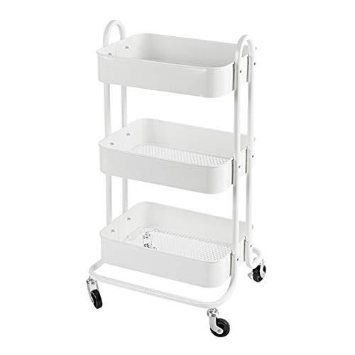 H.ZHOU 3 Tier Rolling Utility Cart - Carro del organizador multiusos, carro de almacenamiento de brechas, estante de almacenamiento de metal, con mango de porción de carretilla para baño de baño cocin