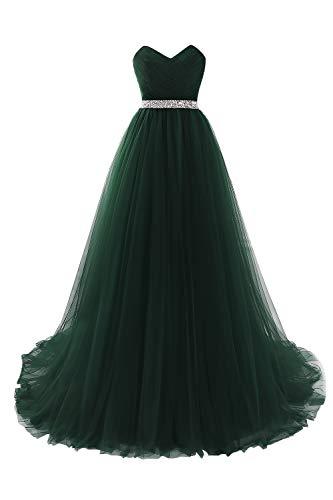 MisShow Damen elegant Tüll Büstier Abendkleider Ballkleider Abschlusskleider Maxilang Kleider Gruen 32