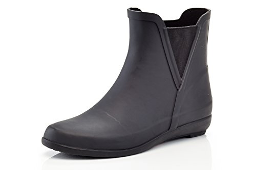 Henry Ferrera Women's Ankle Rain Boots with Elastic Design Black