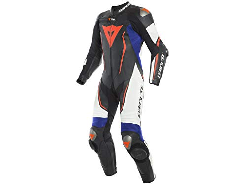 TUTA DAINESE INTERA D-AIR MISANO 2 ESTIVA PELLE (52 - NERO MATT-WHITE-LIGHT BLUE)
