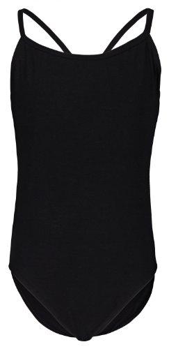 tanzmuster ® Ballettanzug Mädchen Träger - Leonie - (Größe 92-170) aus Baumwolle, Ballettbody Ballett Trikot in schwarz, Größe 128/134