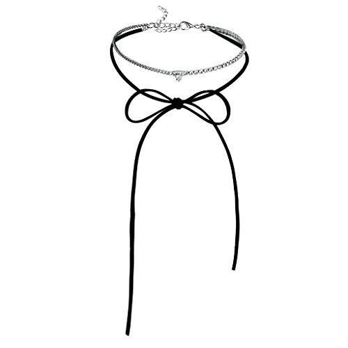 Adisaer Choker Tattoo Damen Halsketten Trauung Samt Diamant Schwarz Silber Cluster Zirkonia Lange Länge 32.3Cm Breite 0.8Cm Choker Kette Halsband Für Liebe