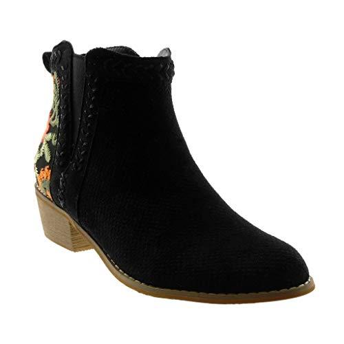 Angkorly - Damen Schuhe Stiefeletten - Mokassin Stiefel - Chelsea Boots - Blumen - Perforiert -...