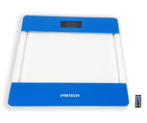 Pritech - Báscula de Baño Digital de Alta Precisión de Vidrio Transparente con Iluminación LCD, Indicador de Temperatura Y Apagado Automático (Azul). PBP-176A