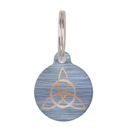 onepicebest Pet ID Tags, Personalized Dog Tags and Cat Tags, Triquetra Pet Chic Blue Gold Celtic Trinity Knot Pet Name Tag - Custom Double Sides Round Puppy Tag - Stainless Steel