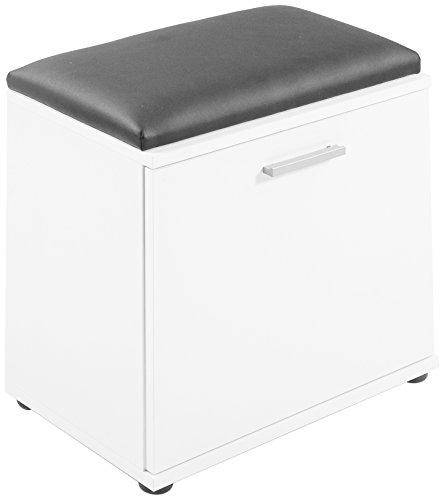 HOMEXPERTS Sitzbank JUSTUS / Hocker in Weiß mit schwarzem Kunstleder Sitzkissen / Schuhschrank mit Tür / zwei Fächer / Garderoben-Kommode / Schuh-Bank / 48x49x28,5cm (BxHxT)