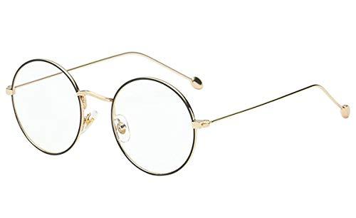 Gafas de lectura redondas de metal vintage para hombre y mujer, Negro y dorado, M