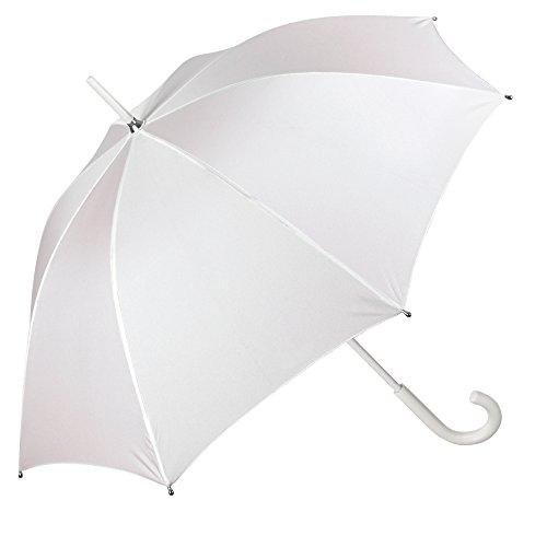 Paraguas de Novia Blanco Clasico - Paraguas Mujer Largo Elegante de Ceremonia Boda para Lluvia y Sol - Resistente Antiviento con Apertura Manual - Diámetro 95 cm - Perletti