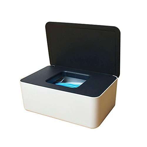 deendeng Soporte para caja de pañuelos – Dispensador rectangular a prueba de polvo para toallitas húmedas con tapa, caja de almacenamiento de pañuelos para el hogar, oficina, pañales, portabebés