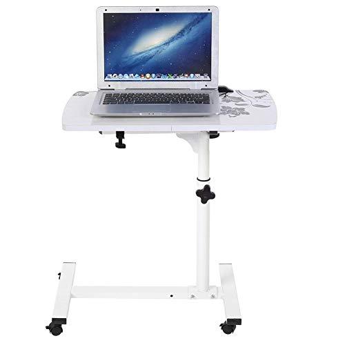 Escritorio de ordenador portátil multifunción con ruedas, mesa de pie de sofá de altura ajustable, mesa de estudio, borde de cama, para casa, altura ajustable de 62 a 88 cm, color blanco