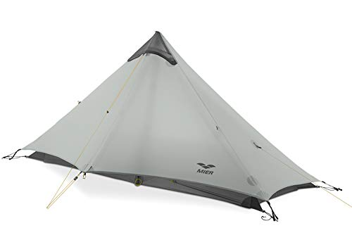 MIER Ultralight Tent 3-Season Backpacking Tent for 1-Person or 2-Person Camping, Trekking, Kayaking, Climbing, Hiking (Trekking Pole is NOT Included), Grey, 1-Person