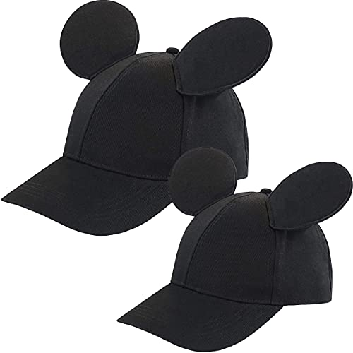 Disney Mickey Mouse Ears Hat, Set of 2 for Daddy and Me, Matching Adult and Little Boy Baseball Caps, Black, Age 4-7 Years