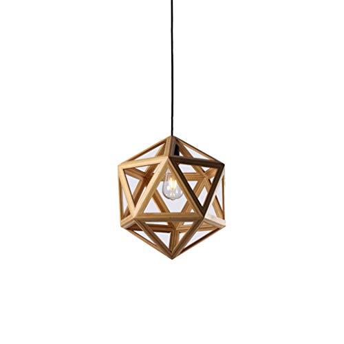 LJF lamp Lámparas colgantes de madera, candelabro industrial vintage, lámpara de araña de poliedro de madera, clase energética A++]