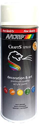 CRAFTS Barniz acrílico en spray brillante, universal, resistente a la intemperie con protección UV, bote de 400 ml (RAL 9010 blanco puro)